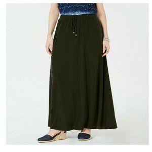 Style & Co. Evening Olive Drawstring Maxi Skirt XS